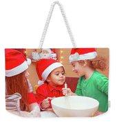 Three Kids Making Christmas Cookies Weekender Tote Bag