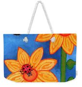 Three Ladybugs And Butterfly Weekender Tote Bag