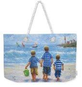 Three Little Beach Boys Walking Weekender Tote Bag