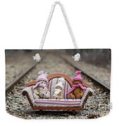 Three Little Teddy Bear Sit In A Sofa In The Middle Of The Winter Forest Weekender Tote Bag