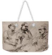 Three Men Chatting Weekender Tote Bag