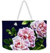 Three Pink Roses With Leaves Weekender Tote Bag