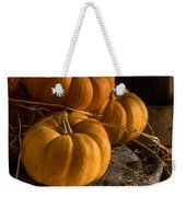 Three Pumpkins On A Bucket Weekender Tote Bag