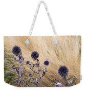 Three Purple Echinops Weekender Tote Bag by Helga Novelli