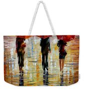 Three Red Umbrella Weekender Tote Bag