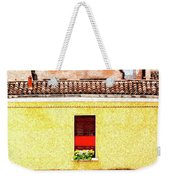 Three Red Windows With Flowers Of A Typically Italian House. Weekender Tote Bag