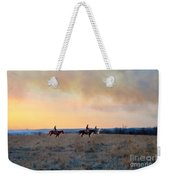 Three Riders In The Kansas Flint Hills Weekender Tote Bag