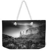 Three Sisters Formation At Monument Valley Weekender Tote Bag