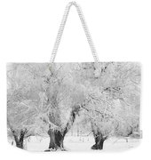 Three Snow Frosted Trees In Black And White Weekender Tote Bag