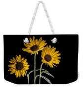Three Sunflowers Light Painted On Black Weekender Tote Bag