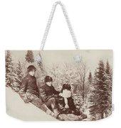 Three Tobogganers On A Snowy Hill Weekender Tote Bag