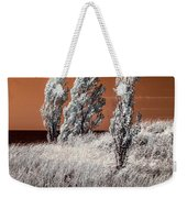 Three Trees  In Infrared On Top Of A Grassy Dune Weekender Tote Bag