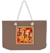 Three Tribal Dancers L A With Decorative Ornate Printed Frame. Weekender Tote Bag