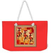 Three Tribal Dancers L B With Decorative Ornate Printed Frame Weekender Tote Bag