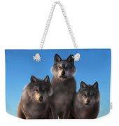 Three Wolves Watching You Weekender Tote Bag