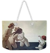 Three Women And A Young Girl Playing In The Water Weekender Tote Bag by Felix Edouard Vallotton