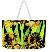 Three Yellow-black Irises, Painting Weekender Tote Bag