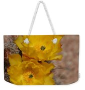 Three Yellow Cactus Flowers Weekender Tote Bag