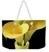 Three Yellow Calla Lilies Weekender Tote Bag