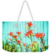 Tiger Lily And Rustic Blue Wood Weekender Tote Bag
