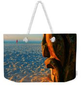 Tiki And The Woman In The Pink Towel Weekender Tote Bag
