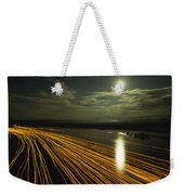 Time Lapse Of Lights From Boats Moving Weekender Tote Bag