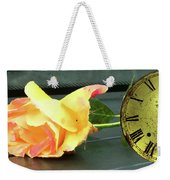 Time To Give A Rose - Yellow And Pink Rose - Clock Face Weekender Tote Bag