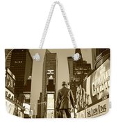 Times Square Ny Overlooking The Square Sepia Weekender Tote Bag