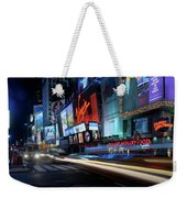 Times Square With Light Trail Weekender Tote Bag