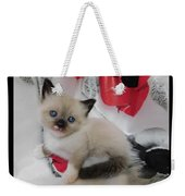 Tiny Micro Version Of Red White And Ragdoll Kitty Kitten Baby Cat Silktapestrykittenstm Weekender Tote Bag
