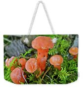 Tiny Orange Mushrooms In Moss Weekender Tote Bag