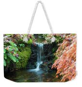 Tiny Waterfall In Japanese  Garden.the Butchart Gardens,victoria.canada. Weekender Tote Bag