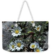 Tiny White Flowers In The Gravel Weekender Tote Bag
