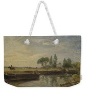 Title Barge Below Flatford Lock Weekender Tote Bag