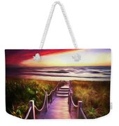 To The Beach Early Morning Watercolor Painting Weekender Tote Bag