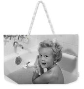 Toddler In Bath, 1950s Weekender Tote Bag