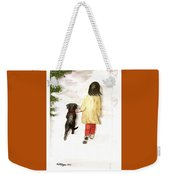 Together - Black Labrador And Woman Walking Weekender Tote Bag