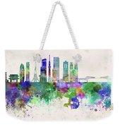 Tokyo V3 Skyline In Watercolor Background Weekender Tote Bag