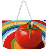Tomato On Plate With Circles Weekender Tote Bag