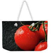 Tomatoes Close Up On Black Slate Weekender Tote Bag