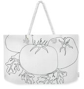 Tomatoes On A Vine In One Line Weekender Tote Bag