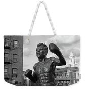Tony Demarco Boxer Statue North End Boston Ma Sunset Black And White Weekender Tote Bag