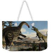 Torvosaurus And Apatosaurus Dinosaurs Fighting - 3d Render Weekender Tote Bag