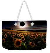 Total Eclipse Over The Sunflower Field Weekender Tote Bag