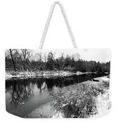 Touch Of Winter Black And White Weekender Tote Bag