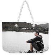 Tourist Seated At Dove Lake Lookout In Tasmania Weekender Tote Bag