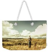 Tourist With Backpack Looking Afar On Mountains Weekender Tote Bag