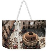 Tourists At Dubrovnik's Onofrio's Fountain Weekender Tote Bag