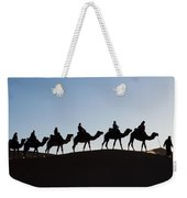 Tourists On Camels Along Top Of Erg Weekender Tote Bag