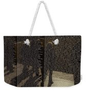 Tourists Walking By Reflected Weekender Tote Bag
